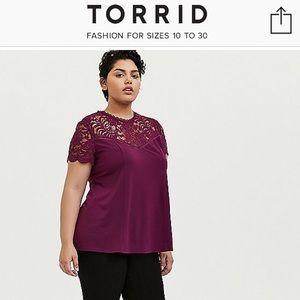 Torrid  burgundy  lace top shirt